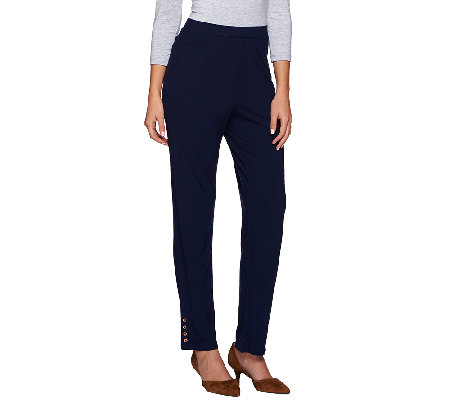 Susan Graver Dolce Knit Comfort Waist Pants with Button Trim