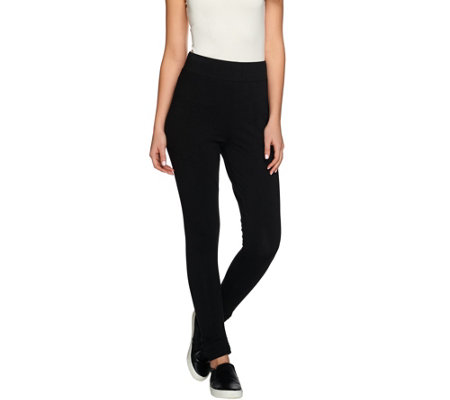 LOGO by Lori Goldstein Petite Knit Pants with Ruching Detail