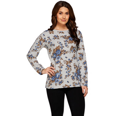 Denim & Co. Active Long Sleeve Rose Printed French Terry Top
