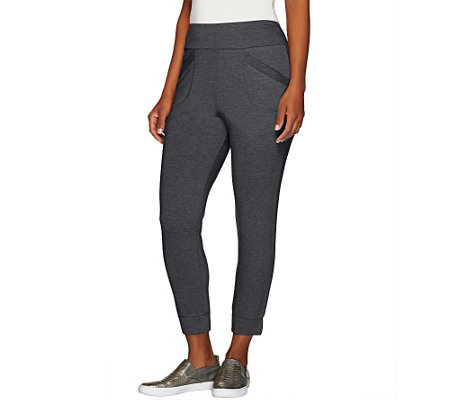 """As Is"" LOGO Lounge by Lori Goldstein Pet. Crop Pants with Banded Hem"