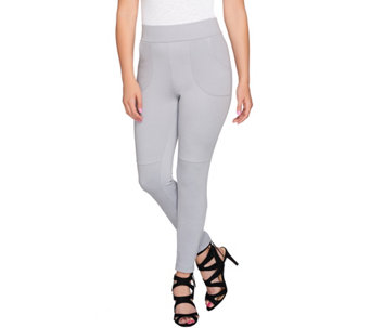 LOGO by Lori Goldstein Petite Twill Knit Pants with Stitch Detail - A273351