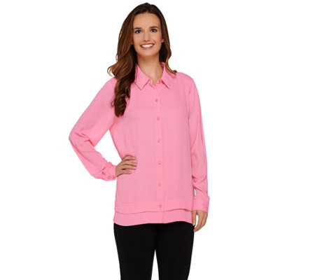 Susan Graver Feather Weave Long Sleeve Button Front Shirt