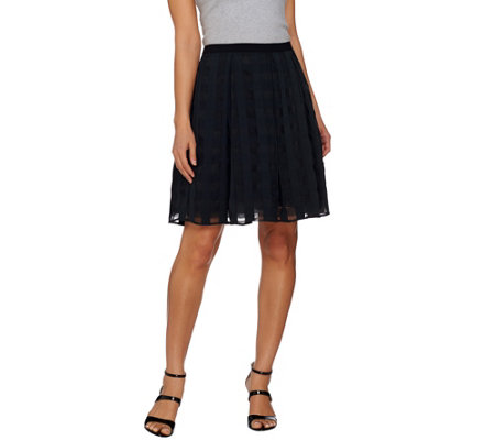 Isaac Mizrahi Live! Gingham Organza Box Pleat Skirt