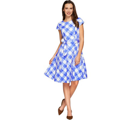 Isaac Mizrahi Live! Gingham Print Dress with Cap Sleeves