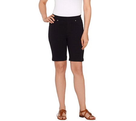 """As Is"" Susan Graver Weekend French Knit Pull-On Bermuda Shorts"