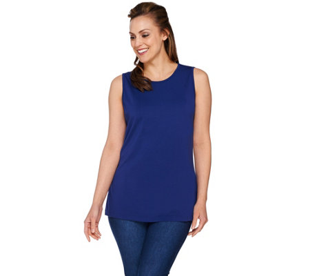 Isaac Mizrahi Live! Knit Tank with Pleated Back Detail
