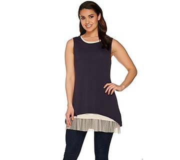 LOGO Layers by Lori Goldstein Knit Tank Twin Set with Mesh Trim - A277751