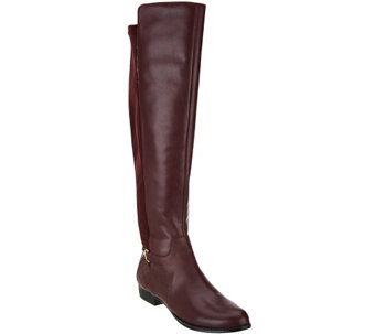 """As Is"" Isaac Mizrahi Live! Leather & Stretch Over the Knee Boots - A278551"