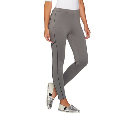 Lisa Rinna Collection Knit Pants with Faux Leather Piping Detail