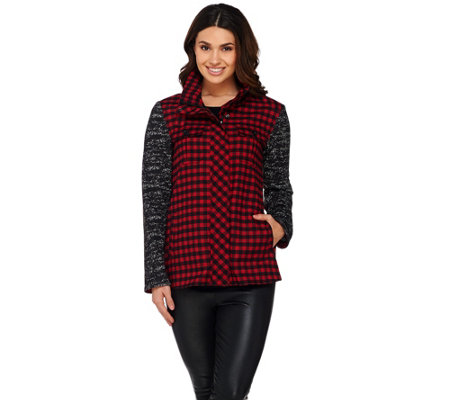 """As Is"" LOGO by Lori Goldstein Plaid Jacket with Sweater Knit Sleeves"