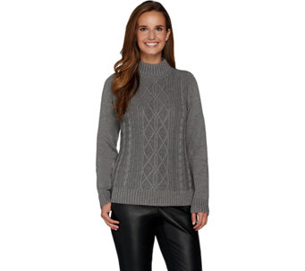 Susan Graver Cotton Acrylic Cable Sweater Turtleneck - A282951
