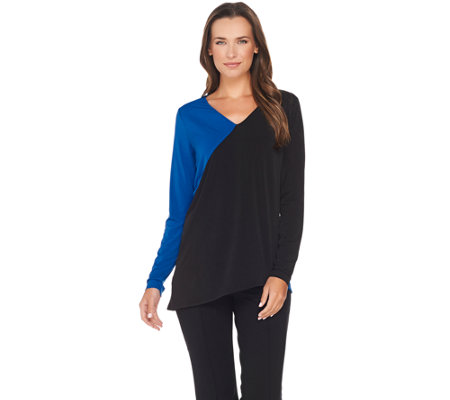 Belle by Kim Gravel Asymmetrical Colorblock Top