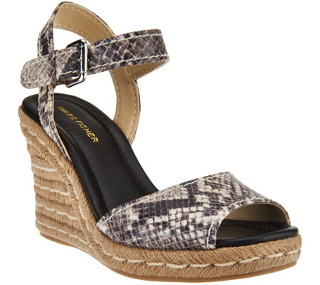 """As Is"" Marc Fisher Peep-toe Espadrille Wedges - Maiseey"