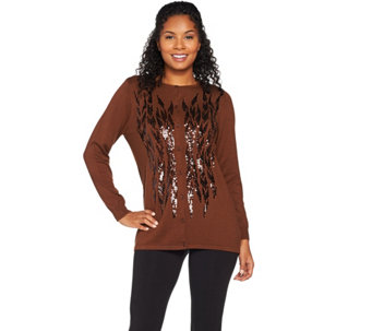 Bob Mackie's Button Front Sequin Sweater Knit Cardigan - A284351