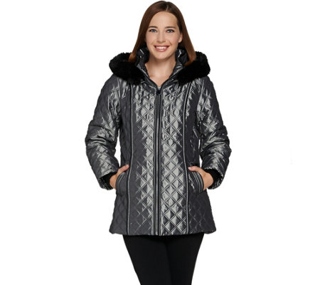 Dennis Basso Quilted Zip Front Jacket with Hood & Faux Fur Trim
