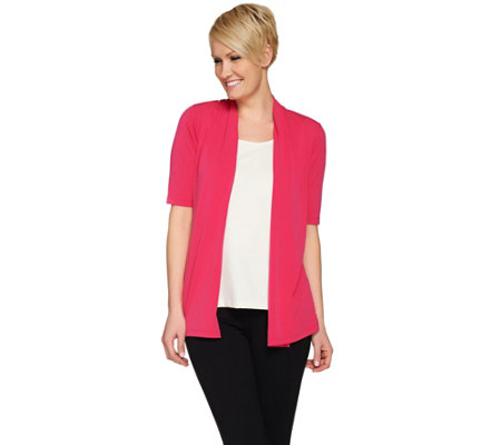 """As Is"" Susan Graver Liquid Knit Elbow Sleeve Open Front Cardigan"