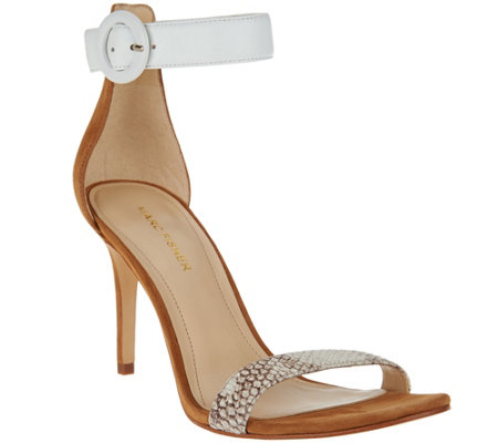 """As Is"" Marc Fisher Leather Sandals with Ankle Strap - Bettye"
