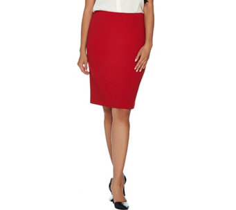 Dennis Basso Caviar Crepe Knit Pencil Skirt - A286051