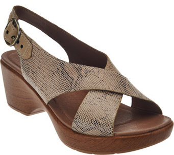 """As Is"" Dansko Leather Criss Cross Strap Sandals - Jacinda - A286351"