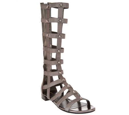 """As Is"" Marc Fisher Leather Stretch Studded Gladiator Sandals - Lexxi"