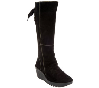 FLY London Suede Tall Wedge Boots - Yust - A287951