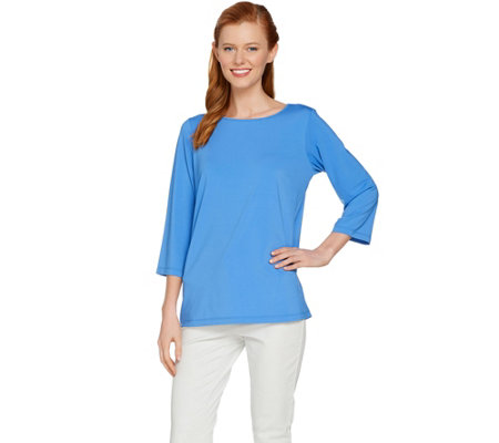 Joan Rivers 3/4 Sleeve Top with Pleated Back Detail
