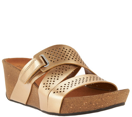 """As Is"" Clarks Leather Perforated Slip-on Wedge Sandals"