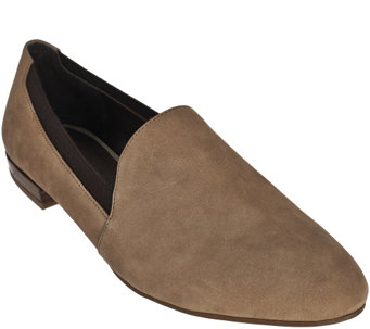 """As Is"" Franco Sarto Suede Smoking Slippers with Goring - Senate - A289851"