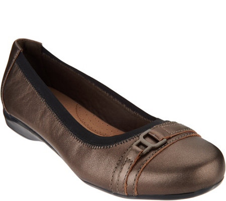 Clarks Leather Slip-on Ballet Pumps - Kinzie Light
