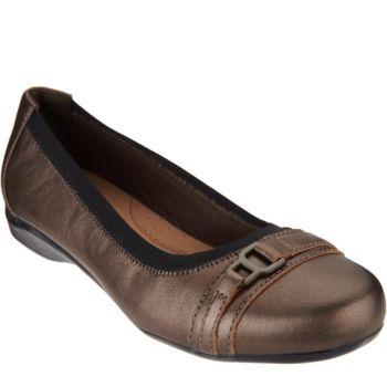 Clarks Leather Slip-on Ballet Pumps - Kinzie Light