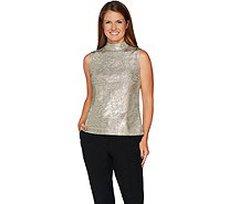 H by Halston Sleeveless Foil Printed Mock Neck Top - A296251