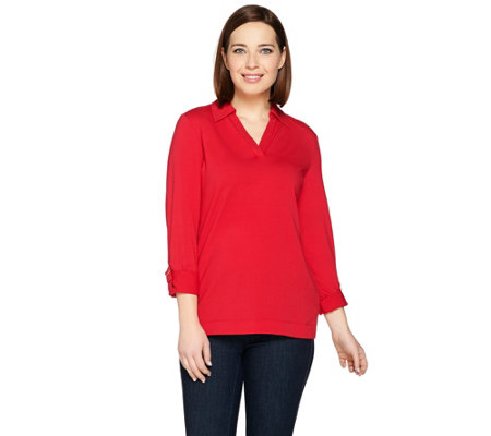 """As Is"" Susan Graver Weekend Stretch Cotton Modal Long Sleeve Top"