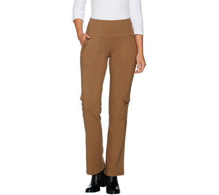 Women with Control Tall Tummy Control Pull On Boot Cut Cargo Pants