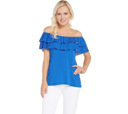 Attitudes by Renee Choice of Print or Solid Ruffle Knit Top