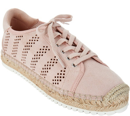 Marc Fisher Perforated Espadrille Lace- up Sneakers- Baila