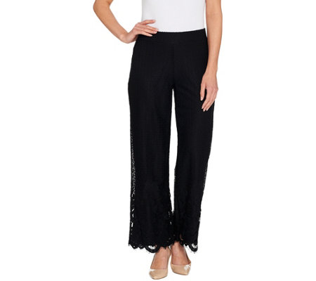 Isaac Mizrahi Live! Petite Engineered Lace Wide Leg Pants