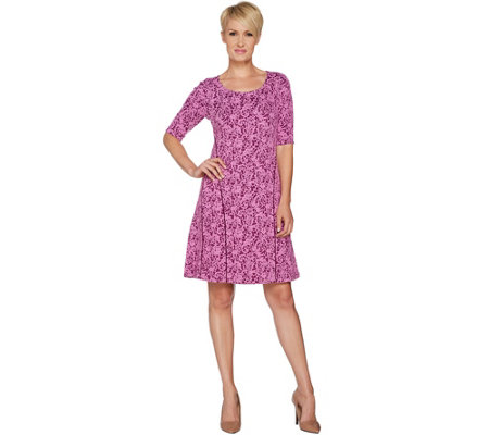 """As Is"" Isaac Mizrahi Live! Scroll Knit Jacquard Fit & Flare Dress"