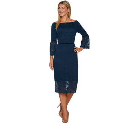 """As Is"" Du Jour Velvet Trim Lace Dress with Contrast Lining"