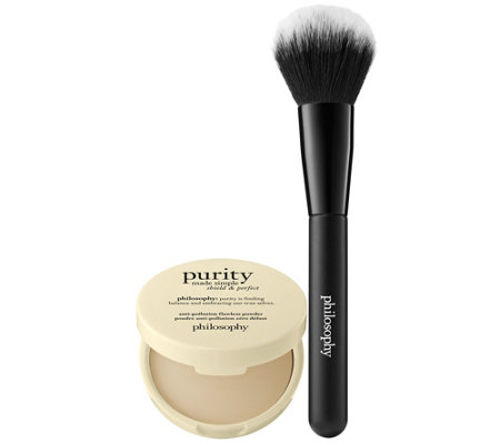 philosophy purity shield & perfect flawless powder with brush
