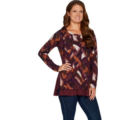 """As Is"" LOGO by Lori Goldstein Printed Cotton Modal Top w/ Textured Sides"