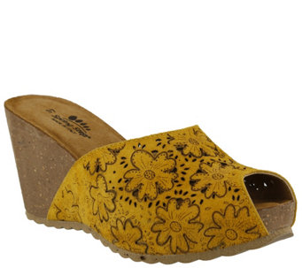 Spring Step Suede Leather Wedge Slide Sandals -Bojana - A339451