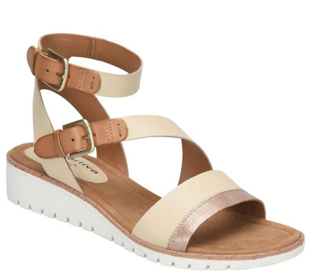 Comfortiva Leather Wedge Sandals - Corvina