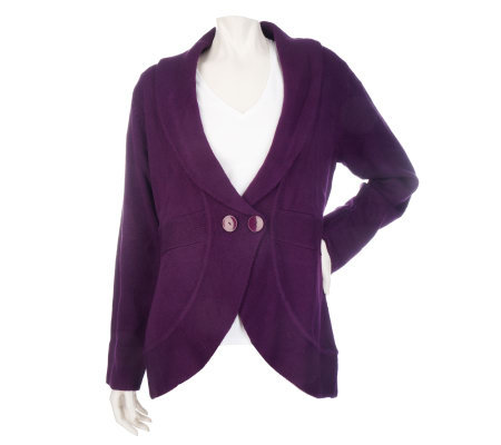 Susan Graver Plush Knit 2 Button Shawl Collar Cardigan