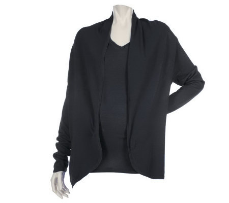 Motto Long Sleeve Open Front Cardigan with V-neck Shell