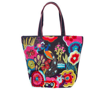 Jesselli Couture Peacock Embroidered Cotton Tote - A204052
