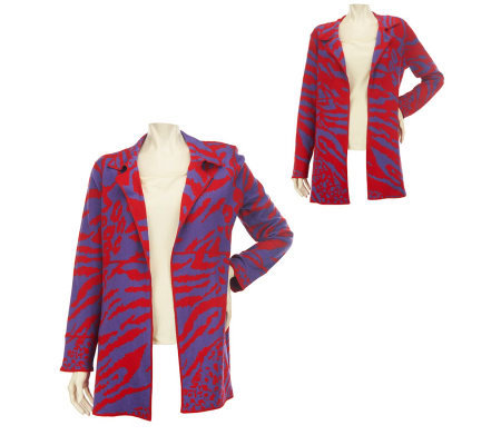 George Simonton Animal Jacquard Reversible Open Front Cardigan