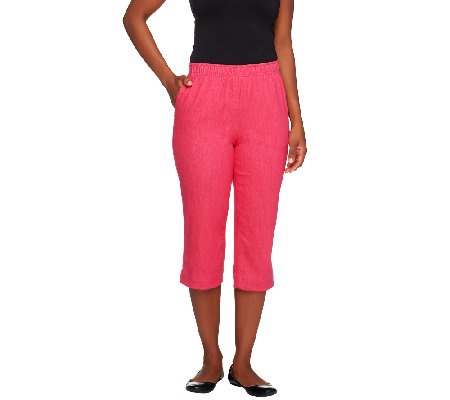 "Denim & Co. ""How Timeless"" Pull-on Stretch Color Denim Capri Pants"