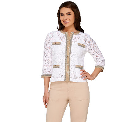 Linea by Louis Dell'Olio Lace Jacket with Trim Detail