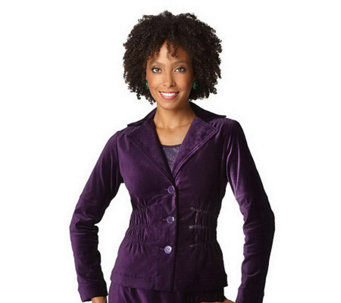 """As Is"" Joan Rivers Velvet Signature Jacket with Ruching Detail - A224352"