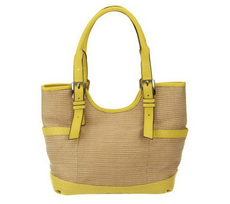B. Makowsky Straw Tote with Glove Leather Trim & Buckle Accents